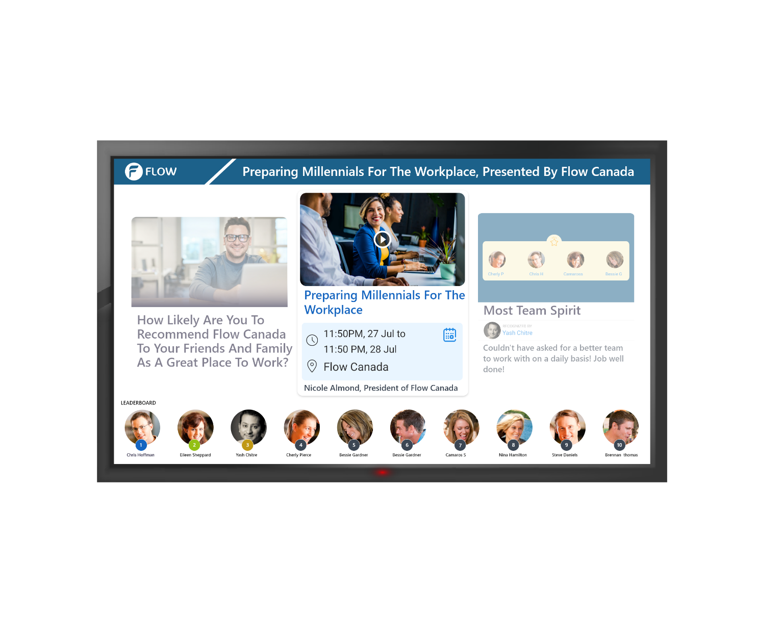 Use TV displays to showcase employee content and news feed